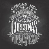 Christmas wishes hand-lettering with chalk — Stock Vector