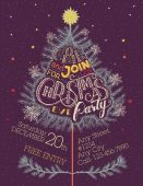 Christmas eve party hand-lettering — Vector de stock