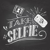 Take a selfie on blackboard — Vector de stock