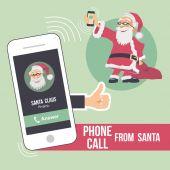 Christmas phone call from Santa — Stock Vector