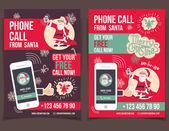 Phone call from Santa flyers design — Stock Vector