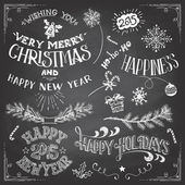 Christmas and New Years elements set — Vector de stock