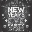 New Years Eve party invitation on chalkboard — Stock Vector #58712445