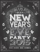 New Years Eve party invitation on chalkboard — Vector de stock