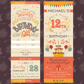 Birthday party invitation ticket — Vector de stock