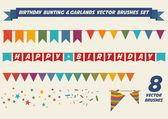 Birthday garlands vector brushes — Stock Vector