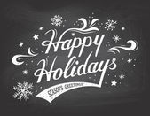 Happy Holidays on chalkboard background — Vector de stock