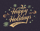 Happy Holidays hand-lettering card — Stock Vector