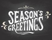Season's greetings on chalkboard background — ストックベクタ