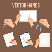 Hands holding objects set — Stock Vector