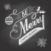 Hand-lettering Christmas greeting label on chalkboard — Vecteur