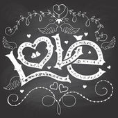 Love hand-lettering for Valentines day on chalkboard — Vector de stock