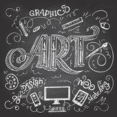 Art hand-lettering on chalkboard — Stock Vector