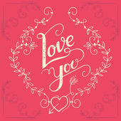 Love you hand-lettering card — Stockvector