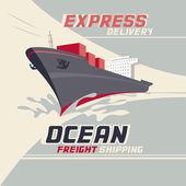 Ocean freight shipping — Stock Vector