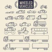 Wheeled vehicles icons — Stock Vector