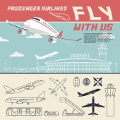Airline illustration and icons — Vector de stock