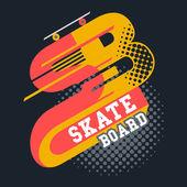 Skateboard t-shirt lettering — Stock Vector