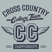 Cross Country College Team t-shirt design — Stock Vector