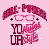 Girl power t-shirt design — Stock Vector