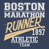 Boston Marathon runner t-shirt — Stock Vector