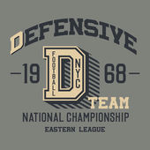 Defensive football team t-shirt — Stock Vector