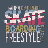 Skateboarding Championship t-shirt design — Stock Vector