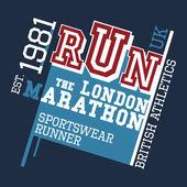 London Marathon t-shirt design — Stock Vector