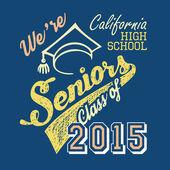California high school Seniors t-shirt — Cтоковый вектор