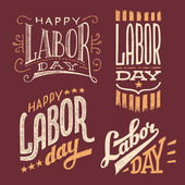 Labor Day vintage hand-lettering designs — Stock Vector