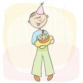 Vector illustration. Birthday celebration with cake. — Stock Vector