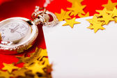 Christmas card. background with a clock and decorations. macro — Stock Photo