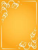 Vector ram på gul bakgrund. Honeycomb — Stockvektor