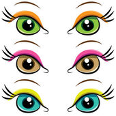 Set of pairs of eyes. vector — Stock Vector