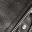 Постер, плакат: Part black leather clothing with a zipper macro