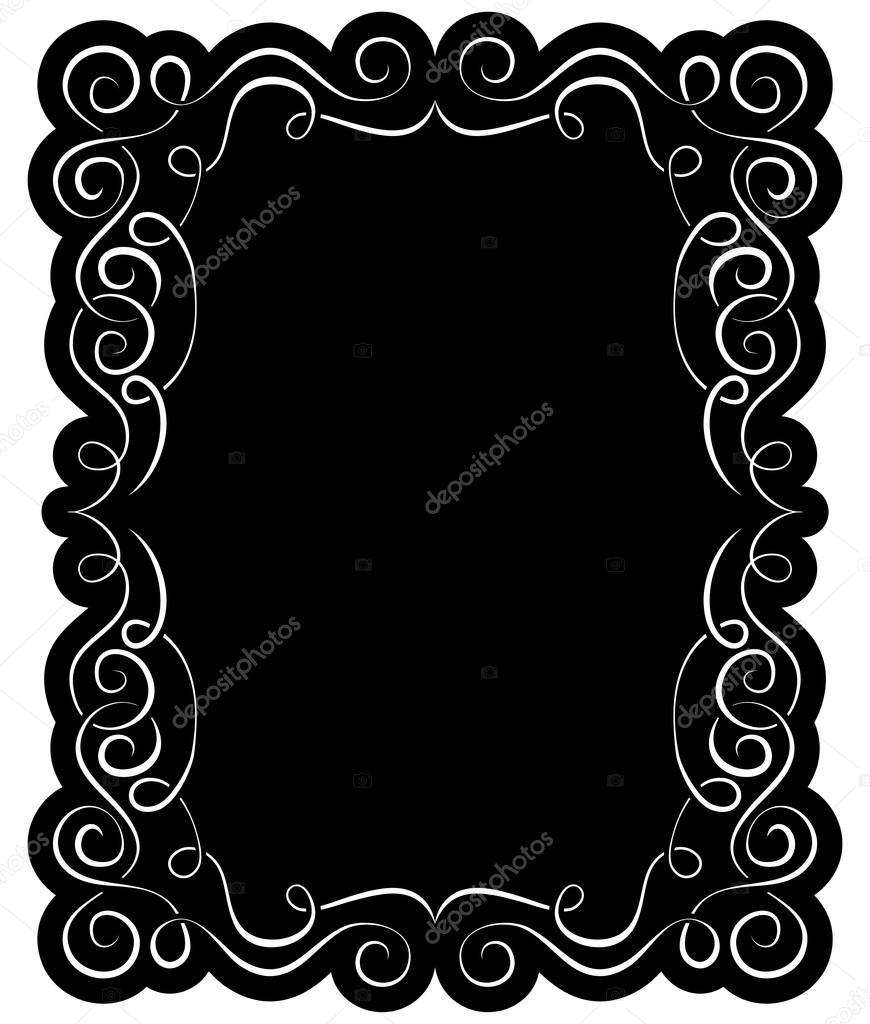 优雅的白色边框矢量黑色框架– 图库插图