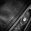 Постер, плакат: Black leather clothing with a zipper macro photo