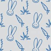 Vector seamless print pattern of rabbits, carrots and shrubs — Stock Vector