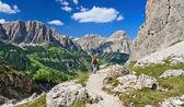 Dolomites - hiker in Badia Valley — Stock Photo