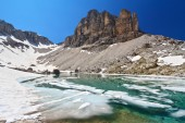 Dolomiti - lake Pisciadu — Stock Photo