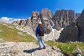 Dolomiti - hiker in Sella mount — Stock Photo