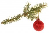 Christmas tree outfit with a decorative ball. — Stock Photo