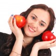 Teen girl holds near the face apples — Stock Photo #78163598