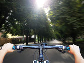 Driving bicycle — Stock Photo