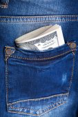 Money in the pocket of jeans — Fotografia Stock