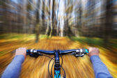 Mountain biking down hill descending fast on bicycle. View from — Foto de Stock