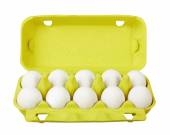 Cardboard egg box with eggs — Stock Photo