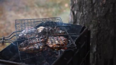 Juicy steaks sizzle on flaming and smoking grill — Stock Video