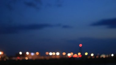 Airport Runway With Out Of Focus Lights — Stock Video