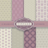 Seamless Patterns. Vintage Set. — Stock Vector